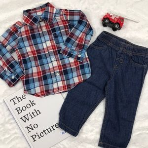 Plaid Button Up and Jeans